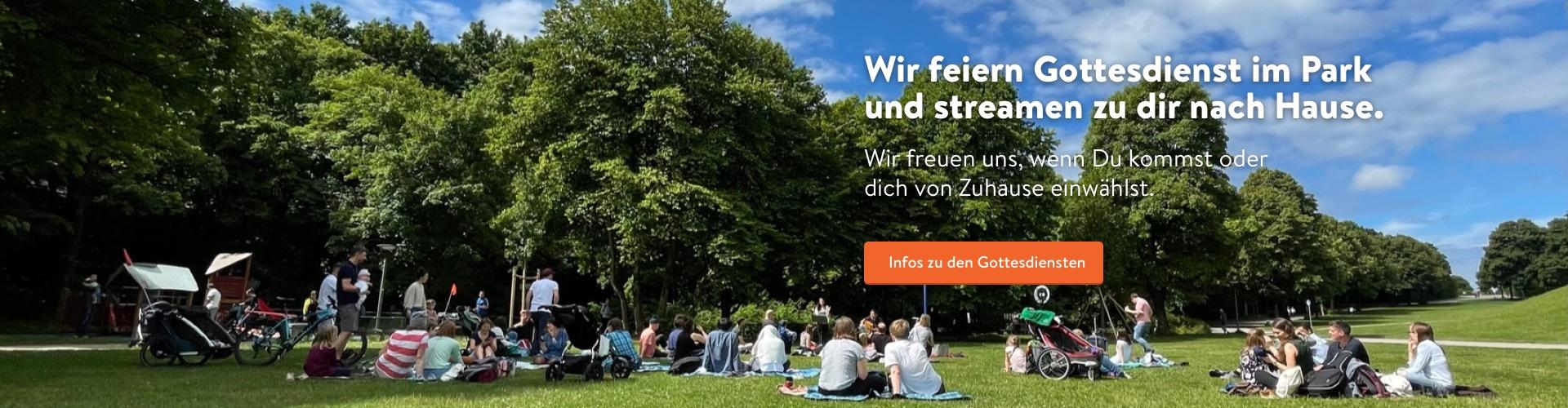 Die Citychurch München feiert Gottesdienst im Park